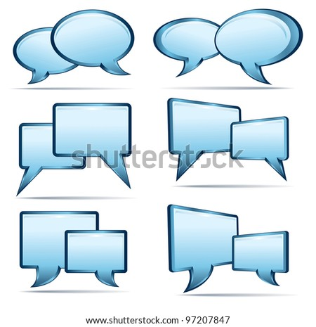 Silver blue and glass 3D and 2D speech bubbles - Raster Version - stock photo