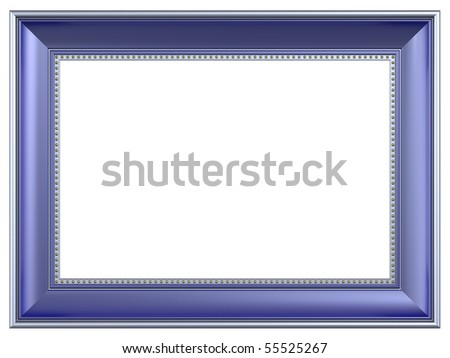 Silver-blue rectangular frame isolated on white background. Computer generated 3D photo rendering.