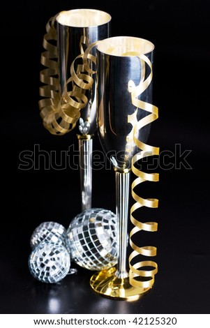 silver bocals and serpentine decoration - stock photo