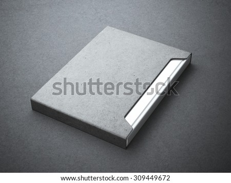 Silver book with gray paper cover box - stock photo