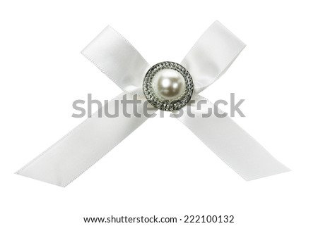 silver bow isolated on the white background - stock photo