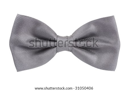 Silver bow tie isolated over white background - stock photo