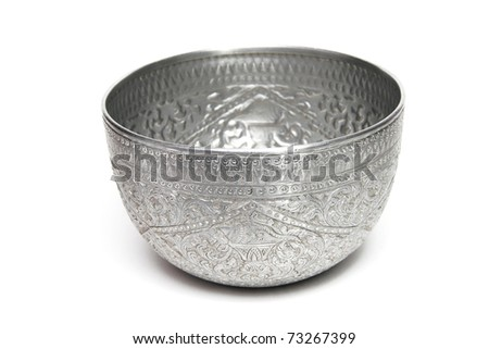 silver bowl - stock photo