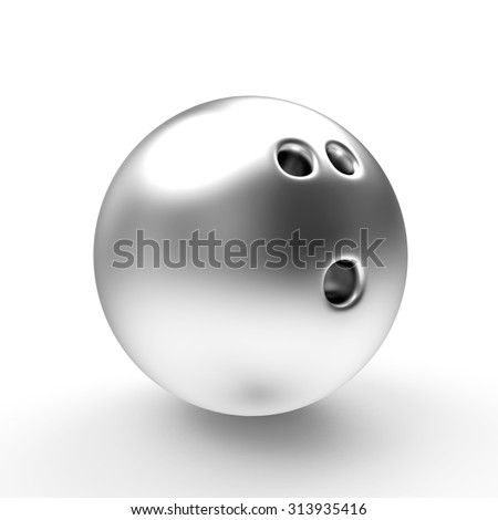 Silver bowling ball isolated on a white background