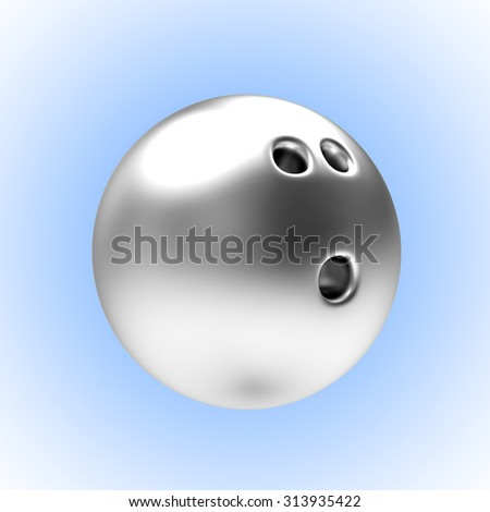 Silver bowling ball on blue background