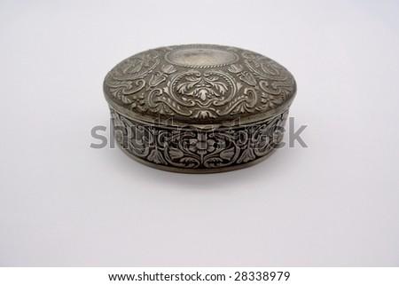 Silver box. - stock photo