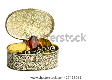 silver box with gold coins and gems - stock photo