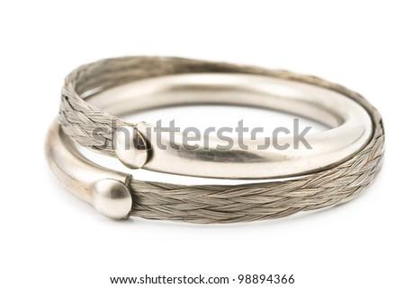 Silver bracelet isolated on white - stock photo