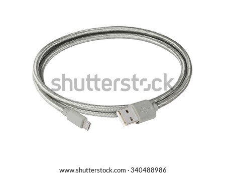 Silver braided wire usb to miniusb cable isolated on white - stock photo
