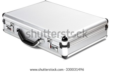 silver briefcase - closed, birds-eye-view, angled left
