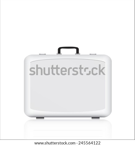 Silver briefcase on white background