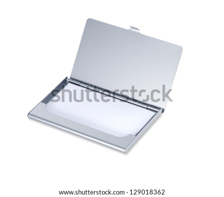 silver business card holder isolated on white with copyspace and clipping path - stock photo