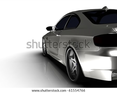 Silver business executive sports car / sportscar in smokey studio - stock photo