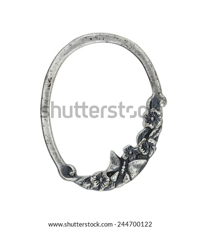 Silver Butterfly & Flowers Picture Frame - stock photo