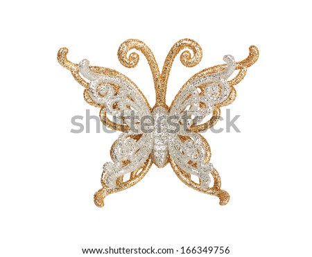 silver butterfly isolated on white background - stock photo