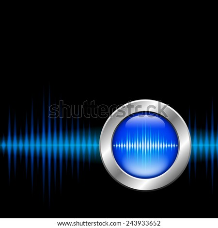 Silver button with blue sound or music wave sign - stock photo