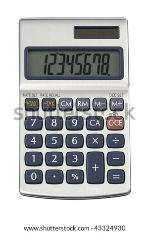 silver calculator on a white background