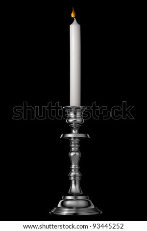 Silver candlestick with candle isolated on black - stock photo
