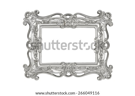 Silver carved picture frame isolated over white with clipping path. - stock photo