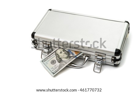 Silver case with dollars on a white background.