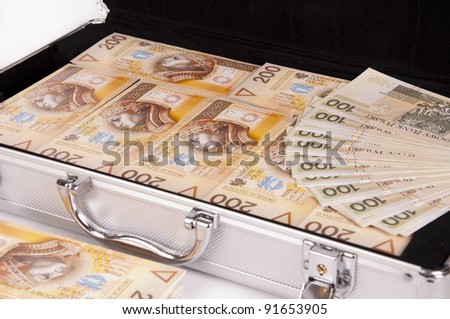 Silver case with money on a white background - stock photo