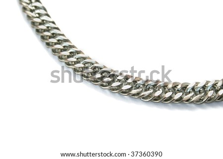 Silver chain isolated on white background. - stock photo