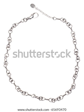 Silver Chain Link Necklace for a Casual or Formal Occasion. - stock photo