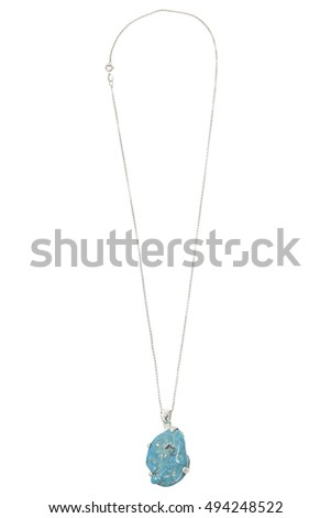 Silver chain with pendant on white background