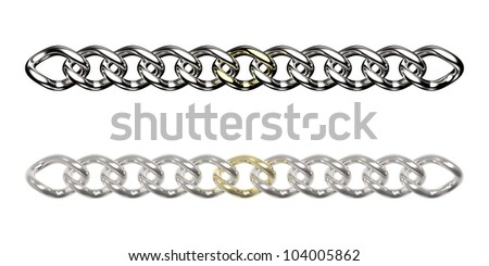 Silver chains with one golden link (isolated on white) - stock photo