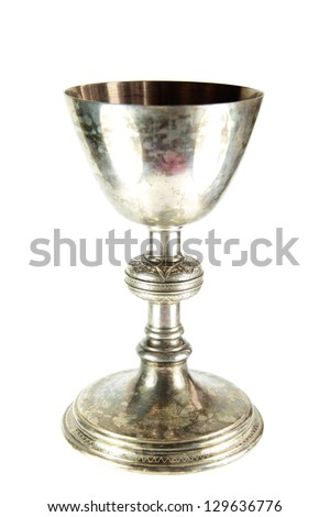 Silver chalice on white background