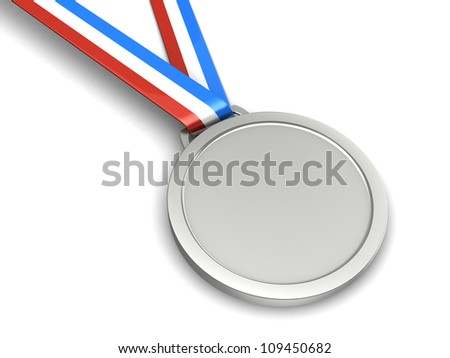 Silver champion medal isolated on a white background - stock photo