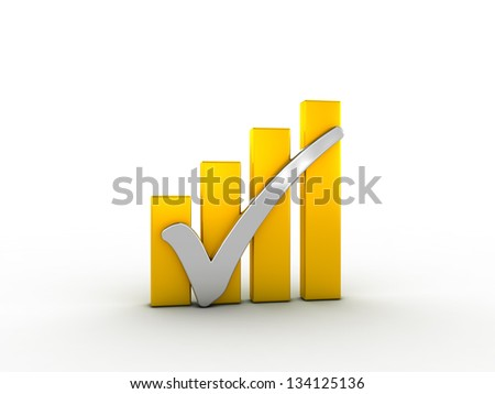 Silver check mark with golden bars - stock photo