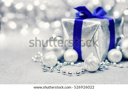 Silver christmas background with blue accent