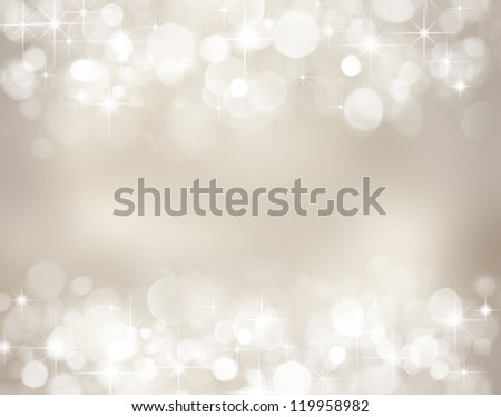 Silver christmas background with stars and bokeh lights - stock photo