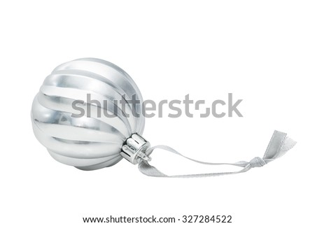Silver Christmas ball decoration isolated on white background - stock photo