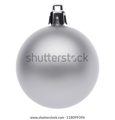 Silver christmas ball isolated on white background - stock photo
