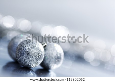silver christmas ball macro close up
