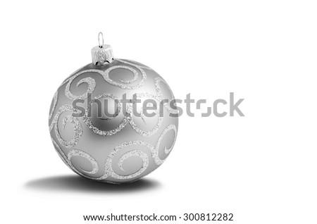 Silver christmas ball on white background - stock photo