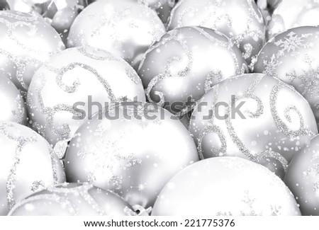 Silver christmas balls background - stock photo