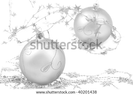 silver christmas balls isolated on white background