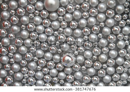 silver christmas balls texture as nice background - stock photo