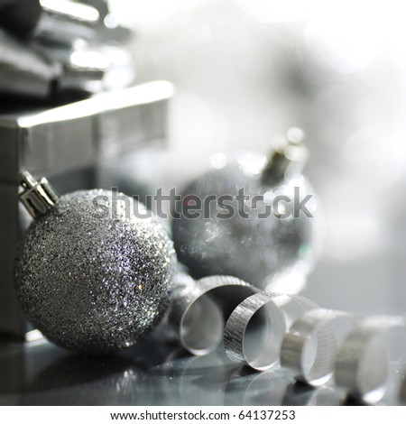 silver christmas card - stock photo