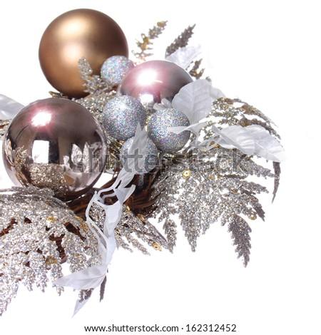 Silver Christmas Decoration. Shiny and Glitter Holidays Balls isolated on white background - stock photo