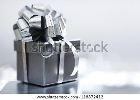 silver christmas gift macro close up - stock photo