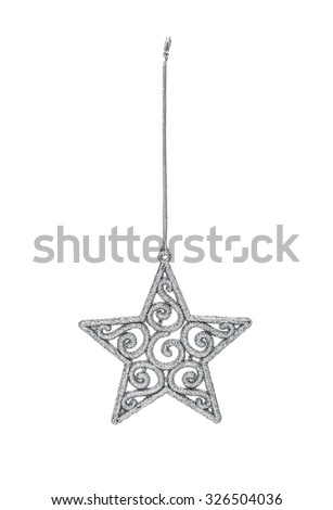 Silver Christmas hanging star  with decoration isolated on white background - stock photo