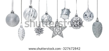 Silver Christmas New Year baubles for Christmas tree ornaments, pine, spruce, balls, stars, bells, pine cones, drums isolated on white - stock photo
