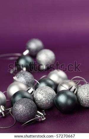 Silver Christmas ornaments - stock photo