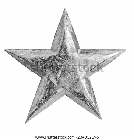 Silver christmas star ornament isolated on white - stock photo