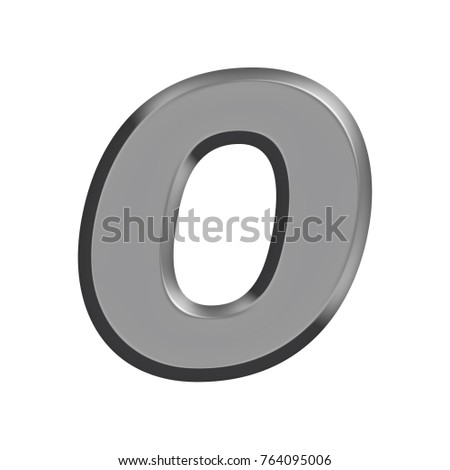 Silver chrome metal uppercase or capital letter O in a 3D illustration with a flat metal beveled edge metallic panel effect and basic bold font isolated on a white background with clipping path.