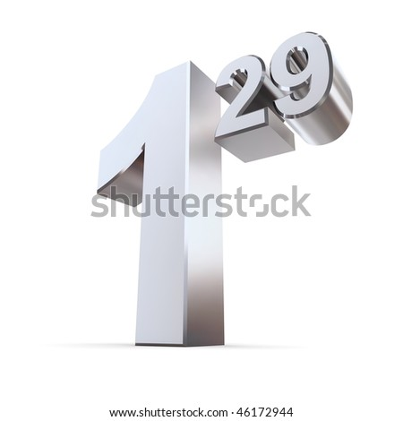 silver-chrome shiny number 1.29 as a price information tag - stock photo